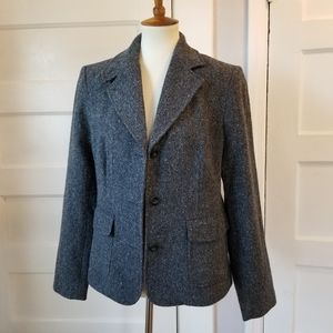 LL Bean Wool & Silk Herringbone Blazer, Size M